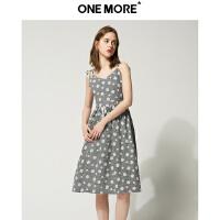【2件2折】ONEMORE夏装新款格子吊带连衣裙波点复古中长款过膝连衣裙女