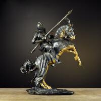欧式复古美式罗马武士摆件客厅酒吧铠甲骑士模型书房软装饰品摆设