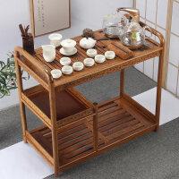 【优选新品】木实木茶车移动茶台功夫茶具茶盘套装电磁炉家用大码茶桌茶几