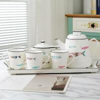 【新品】欧式陶瓷茶具杯子家用客厅6只装喝水杯水壶套杯茶壶茶杯水具套装