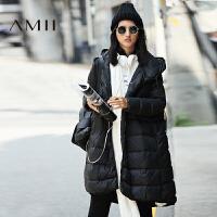 【1件7折/2件5折 再用券】AMII[极简主义]冬装新款连帽加厚中长款大码羽绒服女11641934