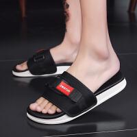 新款拖鞋沙滩鞋男夏时尚外穿潮韩版个性男士一字拖防滑凉拖