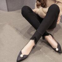 秋冬季韩版潮加绒加厚烟灰色仿牛仔打底裤女士外穿百搭紧身长裤子