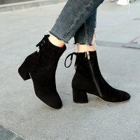 女鞋子秋冬季新款粗跟磨砂绒面短靴侧拉链高跟马丁靴弹力袜靴