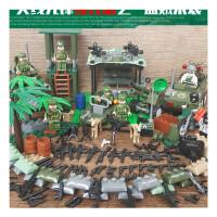 绝地求生玩具兼容乐高吃鸡积木吃鸡玩具军事城市警察人仔刺激战场男孩儿童玩具 西瓜红 盗贼来袭送小底板