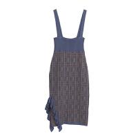 针织连衣裙女冬季新款高腰修身过膝半身包臀裙女 灰蓝