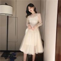 早春新款韩版复古chic温柔仙女裙网纱连衣裙飘逸长裙吊带裙两件套