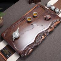 黑檀木茶盘 茶台长方形 功夫茶具茶海 整块实木家用茶盘大号排水
