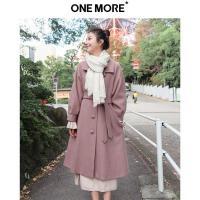 【2件3折】ONE MORE2019冬装新款红色大衣女中长款韩版赫本风毛呢外套学生
