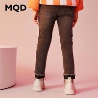 【1件3折:150】MQD童装女童加绒加厚牛仔裤保暖2019冬装新款儿童韩版摇粒绒长裤