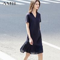 AMII[极简主义]夏新V领弹力棉拼接雪纺风琴褶连衣裙11670721