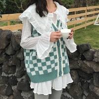 早春女装新款时尚套装V领格纹针织马甲荷叶领长袖雪纺衫两件套潮