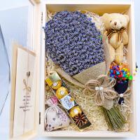 薰衣草干花花束礼盒保鲜生日38妇女节女友闺蜜圣诞节礼物永生木盒