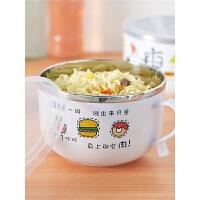 家用创意日式便当盒卡通可爱饭盒不锈钢泡面碗带盖宿舍大汤碗