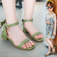 夏季时尚露趾中大软底儿童凉鞋女童凉鞋新款春韩版一字小公主鞋