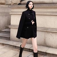 复古英伦风毛呢外套女冬季大衣女新款2018韩版中长款斗篷呢子上衣 黑色 均码