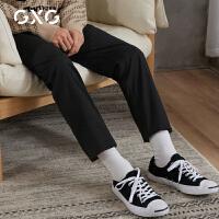 【特价】GXG男装 2021春季直筒裤黑色基础款休闲裤男GY102383GV