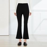 【2件3折】ONE MORE2019夏季新款黑色撞色休闲喇叭裤女个性学院风格