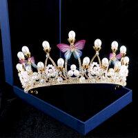 新款巴洛克�和�皇冠�^�公主女童王冠�l��K菲��女孩生日水�@�l箍MYZQ52 金色皇冠彩蝴蝶款
