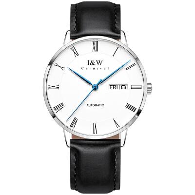 瑞士IW手表男表机械表全自动男士机械手表光面皮带 银边白面/进口机芯【黑色光面皮带】