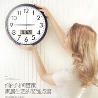 钟表挂钟客厅圆形创意时钟挂表简约现代家庭静音电子石英钟