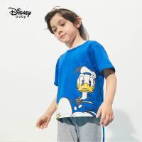 迪士尼童装男童短袖体恤2021夏季新款洋气儿童针织简约时尚上衣潮