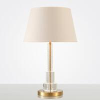 美式简约轻奢创意客厅水晶台灯现代不锈钢艺术卧室床头茶几台灯 拉丝钛金