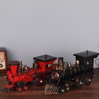 美式乡村复古怀旧纯手工做旧火车头模型摆件蒸汽机车头模型家居玄关书房酒吧咖啡厅装饰品