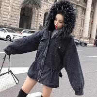 港风连帽毛领加绒加厚牛仔外套女装冬季宽松2018新款夹克棉衣 黑色 均码