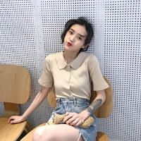 条纹打底衫女夏季韩版复古纯色短袖针织衫套头polo领T恤女上衣