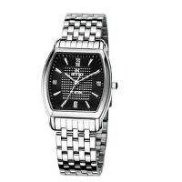 艾奇(EYKI)方形钢带手表情侣表  简约时尚手表 日历 镶钻刻度 石英表男表 8582