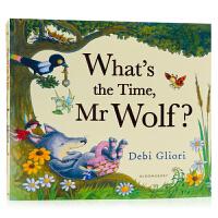 老狼老狼几点了What's the Time Mr Wolf? 英文原版绘本 张湘君推荐 凯特格林威大奖 时间观念认知