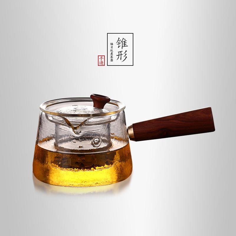 当当优品 锥形锤目纹煮茶器 光阴系列 高硼硅玻璃茶壶 450ml 当当自营 手工吹制 质地通透 实木把手 可拆卸设计 可直接电陶炉加热
