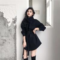 外套女秋冬2018新款韩版百搭款收腰显瘦毛呢外套呢子斗篷大衣 黑色 均码