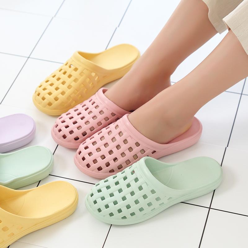 夏季洞洞沙滩浴室室内家居凉拖鞋夏天女防滑包头透气居家塑料拖鞋