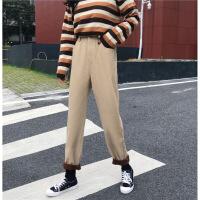 水洗牛仔裤女冬装新款韩版加绒学生高腰宽松显瘦直筒长裤子潮