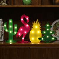 led火烈鸟串灯新年小彩灯圣诞树拍照道具chic仙人掌房间装饰台灯情人节礼物复活节