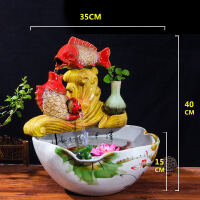 创意流水喷泉雾化加湿器鱼缸摆件景德镇陶瓷造景荷花缸客厅家居品