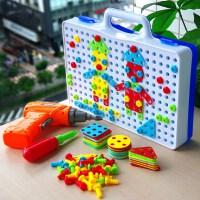 儿童益智玩具早教工具箱电钻玩具拆装螺丝拼图积木拼装组合套装