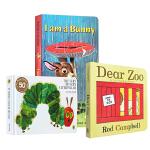 幼儿启蒙认知入门纸板书 3本套装 I am a bunny The Very Hungry Caterpillar好饿