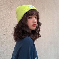韩国学院风贴布毛线帽子女秋冬甜美可爱牛油果绿针织帽保暖瓜皮帽