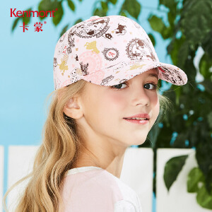 卡蒙6-9岁儿童纯棉棒球帽女孩帽子韩版鸭舌帽欧式印花遮阳帽春夏4662