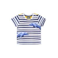 蒙蒙摩米男宝宝T恤短袖纯棉夏装条纹婴儿半袖t恤小男童装2岁T上衣