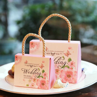 喜糖盒欧式批发孩子满月创意婚礼手提糖果袋子结婚喜糖袋婚庆伴手礼品 纸盒 大号 40个装