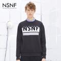 NSNF印花竹节棉圆领黑色套头卫衣  2017秋冬新款