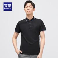 罗蒙男士短袖Polo衫2021夏季新款商务休闲翻领上衣中青年纯色T恤