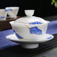 唐丰玉白瓷三才盖碗单个手抓碗家用青瓷泡茶碗简约手持描金冲茶器