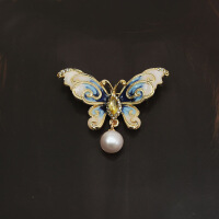 珍珠蝴蝶胸针 女胸花外套别针韩版大气配饰 气质可爱饰 天然珍珠蓝色蝴蝶