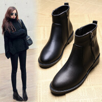 靴子女短靴秋冬季绒面马丁靴女平底大码女靴加绒时尚女鞋4143