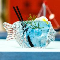 酒吧鱼形鸡尾酒杯 加厚玻璃创意鸡尾酒器皿冷饮杯 个性鱼杯 190ml